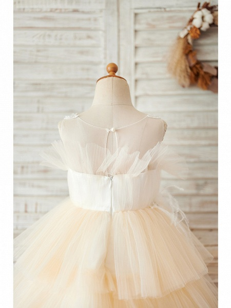 Ball Gown Knee Length Wedding / Birthday Flower Girl Dresses - Tulle Sleeveless Jewel Neck With Feathers / Fur / Lace / Beading_4