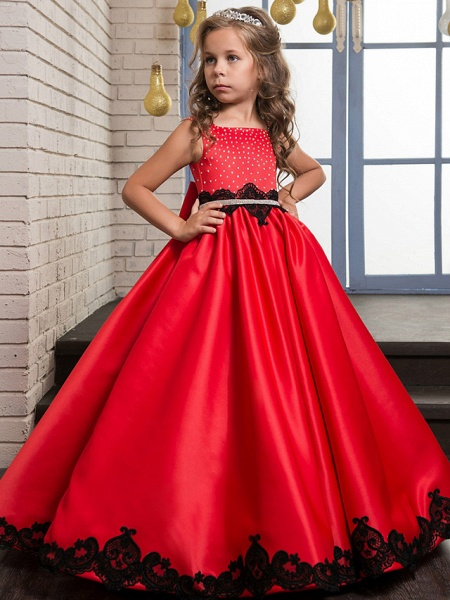A-Line Maxi Pageant Flower Girl Dresses - Poly&Cotton Blend Sleeveless Jewel Neck With Lace