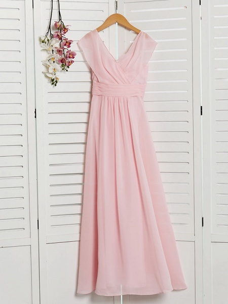 A-Line V Neck Floor Length Chiffon Junior Bridesmaid Dress With Ruffles / Ruching / Wedding Party_3