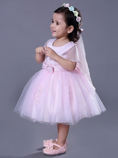 Ball Gown Royal Length Train / Medium Length Wedding / Party Flower Girl Dresses - Satin / Tulle Short Sleeve Jewel Neck With Beading / Appliques / Butterfly_6