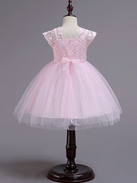 Princess Knee Length Wedding / Party / Pageant Flower Girl Dresses - Lace / Tulle / Cotton Cap Sleeve Square Neck With Lace / Belt_4