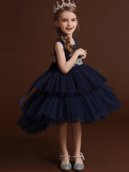 Princess / Ball Gown Asymmetrical Wedding / Party Flower Girl Dresses - Lace / Tulle Sleeveless Jewel Neck With Belt / Bow(S) / Tier_7