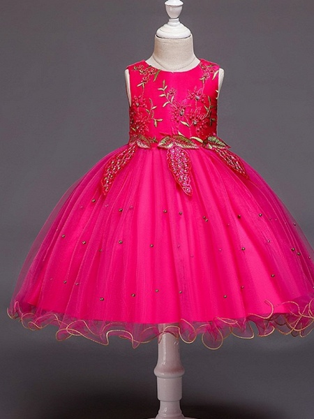 Ball Gown Knee Length Wedding / Party Flower Girl Dresses - Tulle Sleeveless Jewel Neck With Bow(S) / Beading / Appliques_3