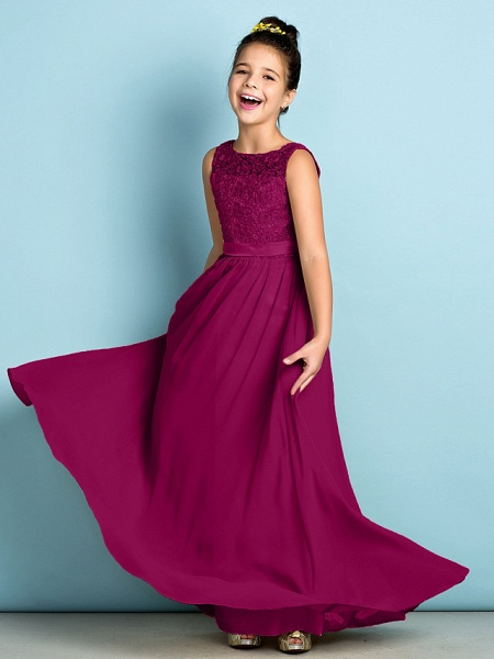 A-Line Scoop Neck Floor Length Chiffon / Lace Junior Bridesmaid Dress With Lace / Natural / Mini Me_42