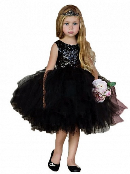 Ball Gown Midi Pageant Flower Girl Dresses - Organza Sleeveless Jewel Neck With Paillette_4