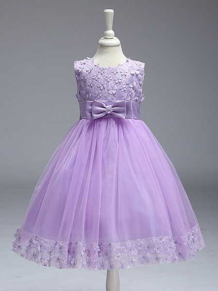 Ball Gown Knee Length Wedding / Party Flower Girl Dresses - Tulle Sleeveless Jewel Neck With Bow(S)_9