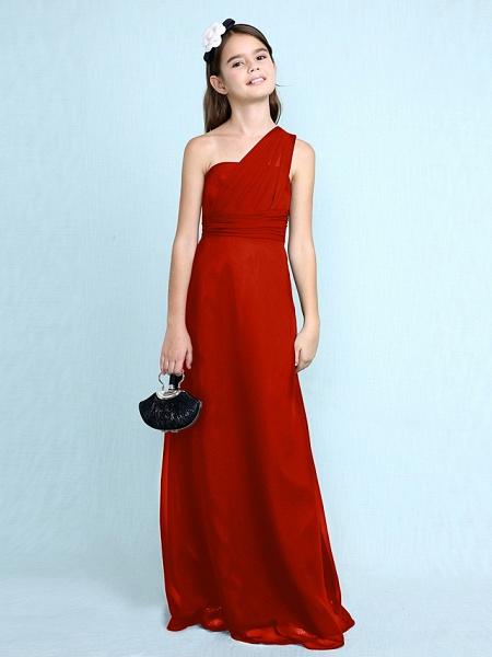 Sheath / Column One Shoulder Floor Length Chiffon Junior Bridesmaid Dress With Side Draping / Natural_17