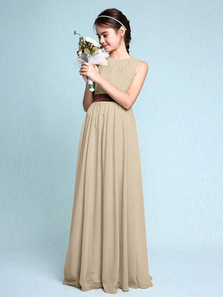 Sheath / Column Scoop Neck Floor Length Chiffon Junior Bridesmaid Dress With Draping / Natural_22
