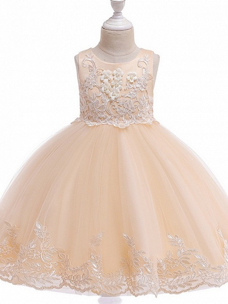Ball Gown Knee Length Wedding / Party Flower Girl Dresses - Tulle Sleeveless Jewel Neck With Bow(S) / Appliques_9