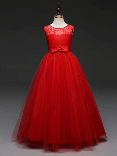 Ball Gown Floor Length Wedding / Party Flower Girl Dresses - Tulle Sleeveless Jewel Neck With Bow(S) / Solid_8