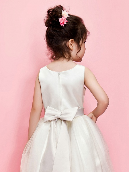 Ball Gown / A-Line Ankle Length Wedding / First Communion Flower Girl Dresses - Satin / Tulle Sleeveless Jewel Neck With Sash / Ribbon / Bow(S) / Spring / Summer / Fall / Winter_4