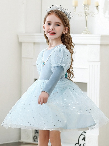 Princess / Ball Gown Knee Length Wedding / Party Flower Girl Dresses - Tulle Long Sleeve Jewel Neck With Crystals / Paillette_5