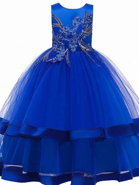 Princess / Ball Gown Floor Length Wedding / Party Flower Girl Dresses - Tulle Sleeveless Jewel Neck With Bow(S) / Appliques / Cascading Ruffles_5