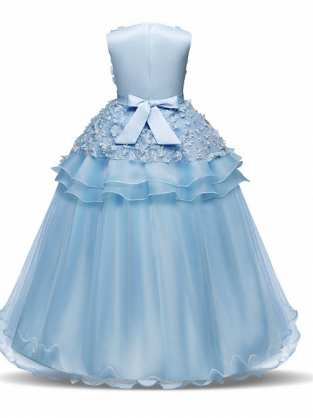 Princess Long Length Wedding / First Communion Flower Girl Dresses - Chiffon / Satin / Tulle Sleeveless Jewel Neck With Bow(S) / Tier / Appliques_9