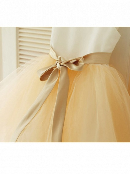A-Line Tea Length Wedding / First Communion / Pageant Flower Girl Dresses - Satin / Tulle Sleeveless Strapless With Belt_5