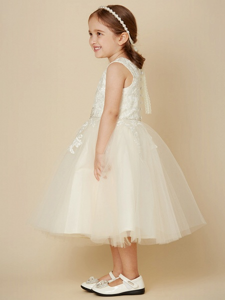 A-Line Knee Length Wedding / First Communion Lace / Tulle Sleeveless Jewel Neck With Beading / Appliques_3