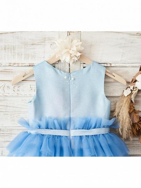 Ball Gown Knee Length Wedding / Birthday Flower Girl Dresses - Tulle Sleeveless Jewel Neck With Belt / Crystals_4