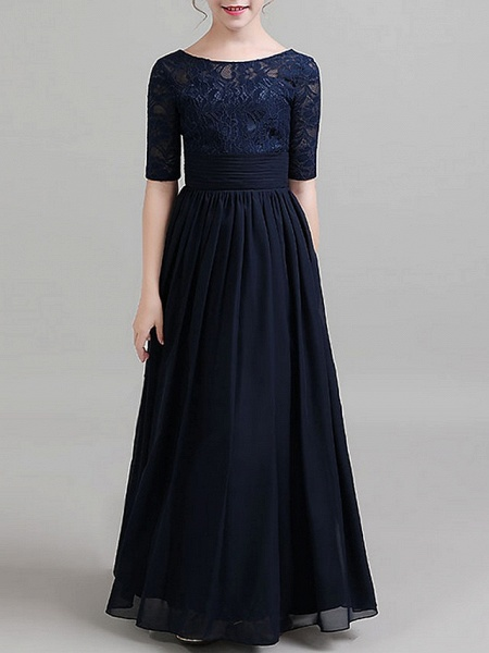 A-Line Round Neck Floor Length Chiffon Junior Bridesmaid Dress With Ruching_4
