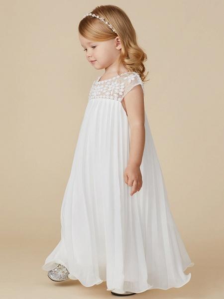 Sheath / Column Knee Length Wedding / First Communion / Holiday Flower Girl Dresses - Chiffon Short Sleeve Jewel Neck With Beading / Draping_3