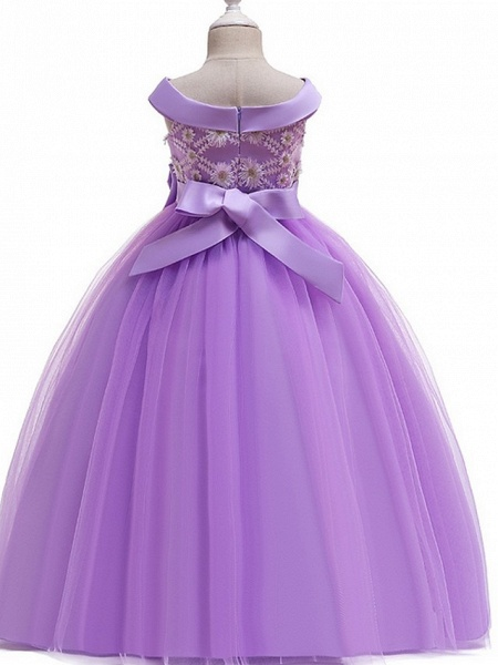 Princess Bateau Floor Length Cotton Junior Bridesmaid Dress With Bow(S) / Pearls / Appliques_6
