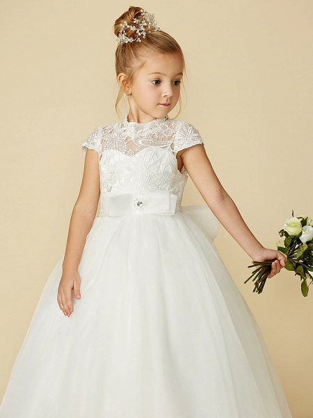 Ball Gown Floor Length Wedding / First Communion Flower Girl Dresses - Lace / Tulle Short Sleeve High Neck With Lace / Sash / Ribbon / Bow(S)_10