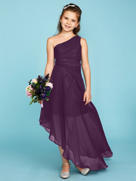 A-Line One Shoulder Asymmetrical Chiffon Junior Bridesmaid Dress With Side Draping / Wedding Party_30
