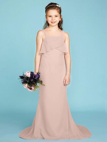 Sheath / Column Spaghetti Strap Sweep / Brush Train Chiffon Junior Bridesmaid Dress With Tiered / Wedding Party / Open Back_17