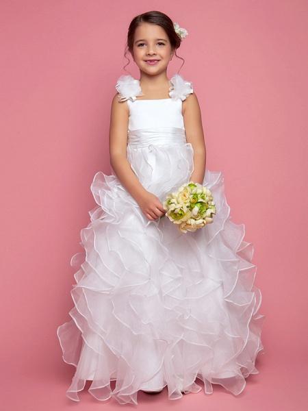 Princess / A-Line Floor Length Organza / Satin Sleeveless Straps With Sash / Ribbon / Ruched / Cascading Ruffles_1