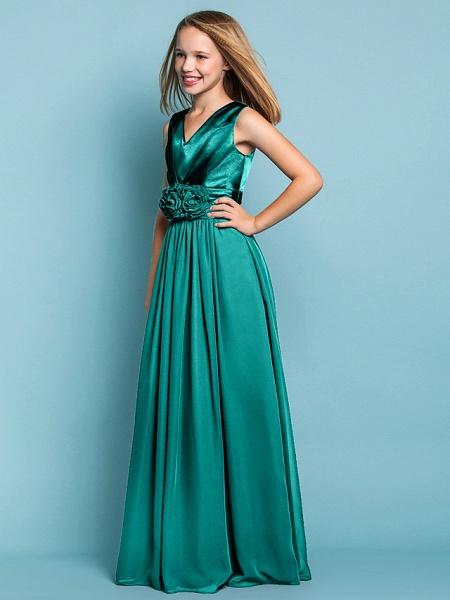 Sheath / Column V Neck Floor Length Chiffon Junior Bridesmaid Dress With Flower / Spring / Summer / Fall / Apple / Hourglass_12