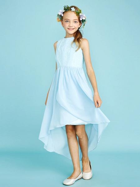 Sheath / Column Jewel Neck Asymmetrical Chiffon / Lace Junior Bridesmaid Dress With Pleats / Natural_5