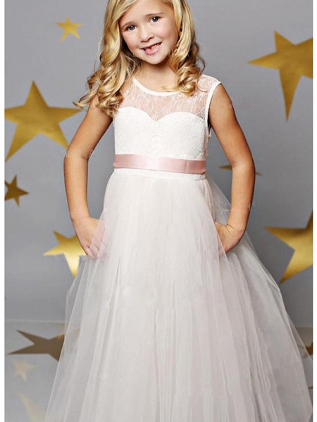 A-Line Floor Length Wedding / Party Flower Girl Dresses - Lace / Satin / Tulle Sleeveless Illusion Neck With Solid_1