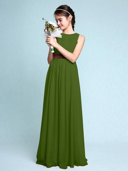 Sheath / Column Scoop Neck Floor Length Chiffon Junior Bridesmaid Dress With Draping / Natural_41