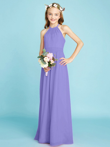 A-Line Halter Neck Floor Length Chiffon Junior Bridesmaid Dress With Sash / Ribbon / Natural_39