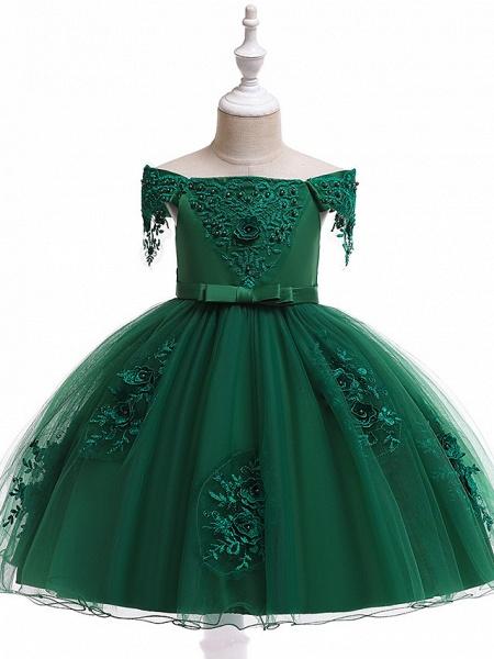 A-Line Knee Length Wedding / Birthday / Pageant Flower Girl Dresses - Tulle Short Sleeve Off Shoulder With Petal / Sash / Ribbon / Trim_3