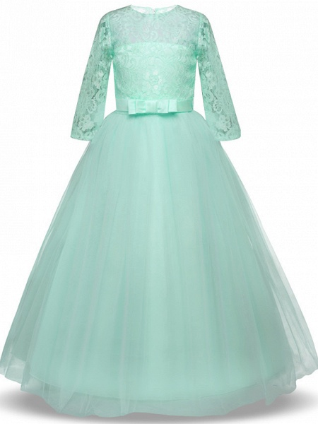 Princess Long Length Wedding / Party / Pageant Flower Girl Dresses - Lace / Tulle Half Sleeve Jewel Neck With Lace / Belt / Bow(S)_9
