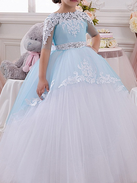 Ball Gown Floor Length Pageant Flower Girl Dresses - Polyester Half Sleeve Jewel Neck With Bow(S) / Appliques_1