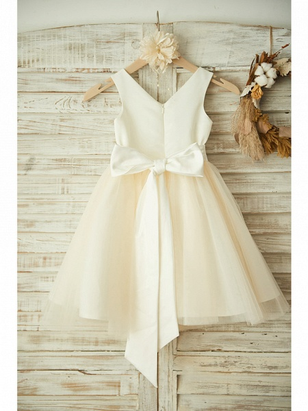 Ball Gown Knee Length Wedding / Birthday / Pageant Flower Girl Dresses - Satin / Tulle Sleeveless V Neck With Bows / Belt / Beading_2