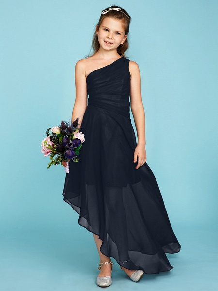 A-Line One Shoulder Asymmetrical Chiffon Junior Bridesmaid Dress With Side Draping / Wedding Party_45