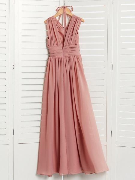 A-Line V Neck Maxi Chiffon Junior Bridesmaid Dress With Pleats / Ruching_4