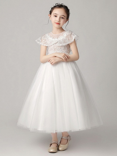 Princess Ankle Length Party / Pageant Flower Girl Dresses - Polyester Short Sleeve Jewel Neck With Lace_2