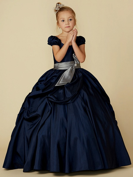 Ball Gown Floor Length Pageant Flower Girl Dresses - Taffeta Short Sleeve Scoop Neck With Belt / Bow(S)_4