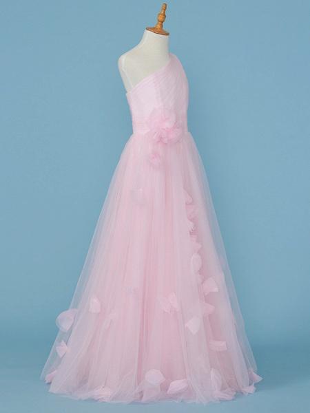 Princess / A-Line One Shoulder Floor Length Tulle Junior Bridesmaid Dress With Pleats / Appliques / Flower_3