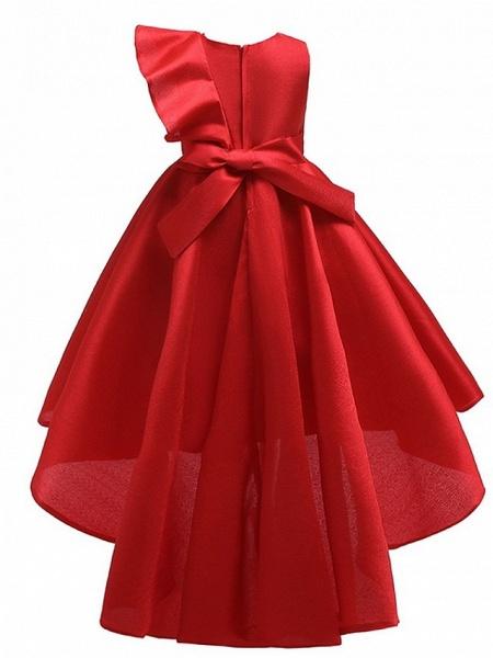 A-Line Round Asymmetrical Cotton Junior Bridesmaid Dress With Bow(S) / Ruffles_3