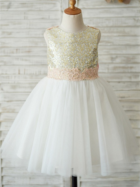 A-Line Knee Length Wedding / Birthday / Pageant Flower Girl Dresses - Tulle / Sequined Sleeveless Jewel Neck With Bows / Appliques_1