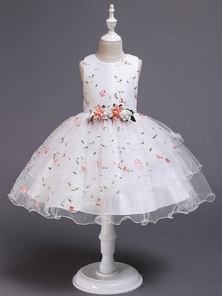 Princess / Ball Gown Knee Length Wedding / Party Flower Girl Dresses - Satin / Tulle Sleeveless Jewel Neck With Bow(S) / Flower_6