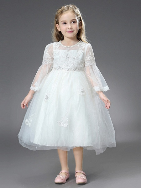 Princess / Ball Gown Ankle Length / Royal Length Train Wedding / First Communion Flower Girl Dresses - Tulle / Matte Satin Long Sleeve Jewel Neck With Beading / Appliques / Butterfly_4