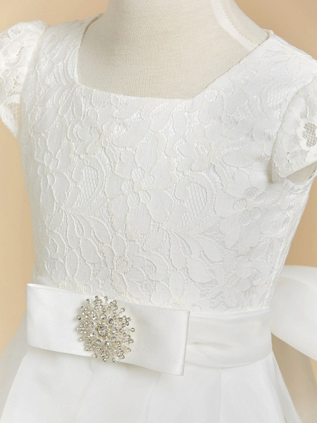 A-Line Floor Length Wedding / First Communion Flower Girl Dresses - Lace / Satin Short Sleeve Square Neck With Bow(S)_4