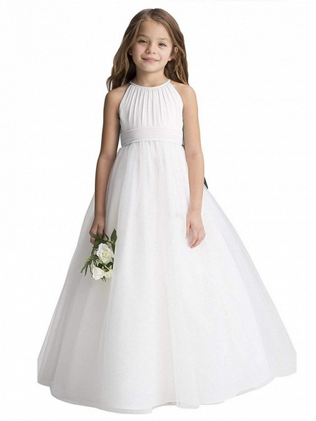Princess Long Length Christmas / Birthday / First Communion Flower Girl Dresses - Chiffon / Organza / Tulle Sleeveless Jewel Neck With Draping_1