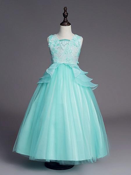 Princess Long Length Wedding / First Communion Flower Girl Dresses - Satin / Tulle Sleeveless Jewel Neck With Belt / Beading / Embroidery_8