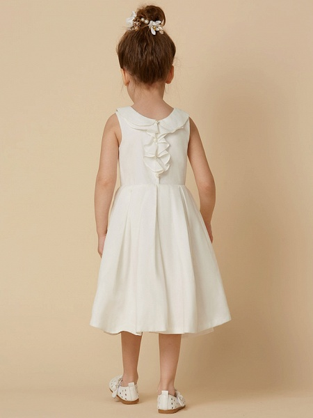 A-Line Knee Length Wedding / First Communion Flower Girl Dresses - Cotton Sleeveless Jewel Neck With Pearls_2